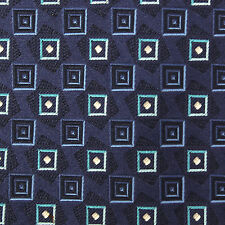 ERMENEGILDO ZEGNA Blue Geometric Boxes Yellow Center Diamonds Silk Tie