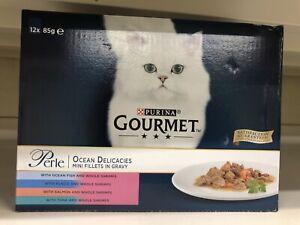 Gourmet Perle Pouch Ocean Delicacies 12Pack Cat Food 85G Mini Fillets In Gravy