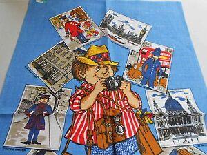 Vintage Teatowel 'London Tourist' Pure Linen by Dunmoy - Brand new