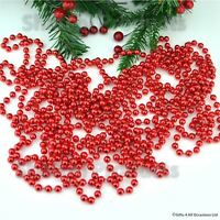 RED BEAD CHAIN GARLAND CHRISTMAS TREE HANGING DECORATION TABLE WEDDING 24FT