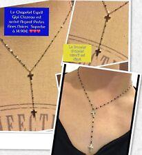 3ca1fa6ad7b34 Collier Chapelet 2 Croix Perles Résine Noire Argent Acier Ref Gigi2 Solde
