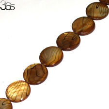 Jewelry Making 20mm Coin Brown MOP Shell Gemstone Loose Beads Strand 15""