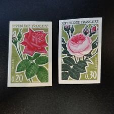 ROSES N°1356/1357 TIMBRE NON DENTELÉ IMPERF 1962 NEUF ** LUXE MNH