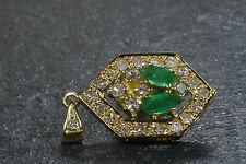 Anhänger Collier-Anhänger 750 Gelbgold Smaragd Diamanten
