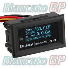 7in1 OLED Blu indicatore carica termometro amperometro voltmetro wattmetro DC