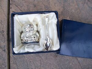 Boxed Childs Silver Plate Humpty Dumpty Egg Cup And Spoon