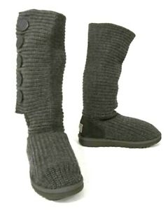 UGG Australia 1878 Women's Classic Cardy Tall 5-Button Knit Boot Gray US SIZE 8