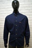 Camicia MARLBORO CLASSICS Uomo Blu Taglia XL Maglia Polo Manica Lunga  Cotone