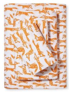 Pillowfort Queen Sheet Set, Foxes, NEW