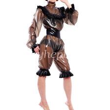 Latex Rubber Women Fashion Hooded Jacket And Pants Suit Smoke Gray Size XXS-XXL