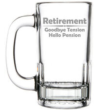 12oz Beer Mug Stein Glass Funny Retirement Goodbye Tension Hello Pension