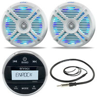 "Marine Round Bluetooth AM FM Radio, Antenna, 2 LED 6.5"" Marine Speakers & Remote"