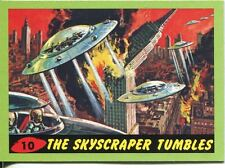Mars Attacks Heritage Green Parallel Base Card #10    The Skyscraper Tumbles