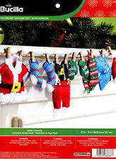 "Bucilla Santa's Laundry ~ 27"" x 5"" Felt Christmas Garland Kit #86683, Suit, Hat"