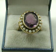 Massive Antique 18ct Gold Amethyst and Pearl Ring