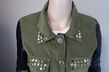 Studs Punk Army Green Splice Jacket Button Japan Harajuku Korean Street Black