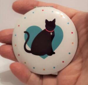 Pretty I love my Cat Cat Compact Mirror- Black cat Green Heart, Cat Lover Gift