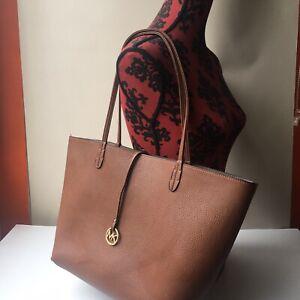 Michael Kors Brown Leather Tote Bag - non-zip top X2 Gold Emblem Hardware Straps