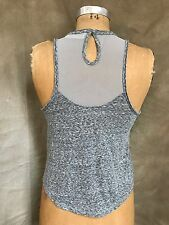 Abercrombie & Fitch Gray SEQUIN BEADED SHEER Mesh Back Tank Top XS