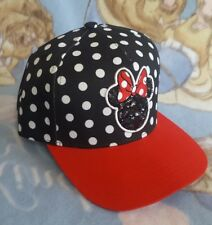 Disney Womens Polka Dot Minnie Mouse Snapback Hat Sequins Baseball Cap Red  Black 35edf9067ee5