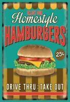 Enjoy Our Homestyle Hamburgers Panneau Métallique Plaque Voûté Étain Signer