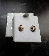 9CT GOLD ANDRALOK HEART CUT OUT POLISH HANGING HEART STUD EARRINGS PIERCED BOXED