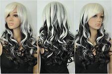 NEWJF12  health Hair Black white wigs Mixed Long Wavy Cosplay Wig