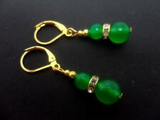 Un par de Verde Jade Gancho Gancho Pendientes de oro plateado. Nueva.