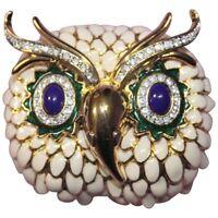 KJL Signed Kenneth J Lane Enamel and Crystal Gold Tone Snowy Owl Brooch Pin