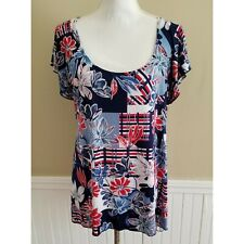 Brittany Black Women Blue Red White  Floral Shirt Size Large