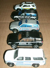 Five 1/64 Scale Police Vehicles Diecast Models - Matchbox HotWheels SUV 4X4 Unit