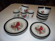 15pc 4ppl Dinner & Salad Plate SET Cereal Bowls Folk Craft CARDINALs Dinnerware