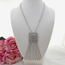 K090605 22'' White Rice Pearl Cz Pave Pendant Chain Necklace