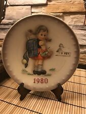 Goebel Hummel Annual Plate 1980 School Girl Hum 273 Germany with Stand. No box.