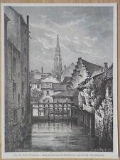 Gravure de presse 1890,Vue du vieux bruxelles
