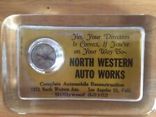 1940's 50's glass paper weight NORTH WESTERN AUTO WORKS LOS ANGELES 29 compass