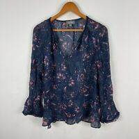 Sussan Womens Top 12 Blue Floral Sheer Long Sleeve V-Neck