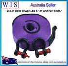 "2 X 3.2 T BOW SHACKLES 5/8"" & HD 12000kg 8M SNATCH STRAP RECOVERY 4WD OFF ROAD"