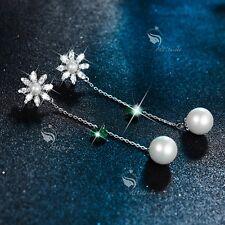 18k white gold GP green crystal pearl stud long chain flower earrings dangle 7cm
