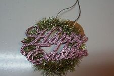 Ragon House Vintage Style Tinsel Easter Wreath Ornament Sign in Green and Pink
