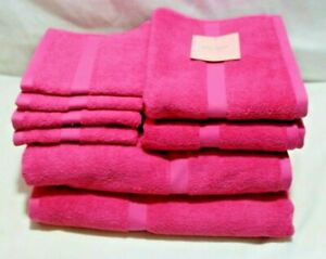 Kate Spade Eight Piece Bathroom Towel Set Solid Bright Pink 100% Cotton New
