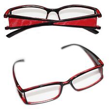 Reading Glasses VAMP Wide Side Metallic Pleather Red Trim Square Lens +2.50