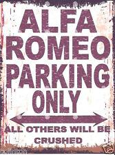 ALFA ROMEO PARKING SIGN RETRO VINTAGE STYLE 8x10in 20x25cm garage workshop art