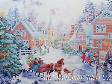 Bead embroidery kit Christmas Village wall decor Holiday Village needlepoint kit