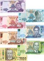 UNC MALAWI Set 20 50 100 200 500 1000 2000 Kwacha (2012-2016) P-57-69