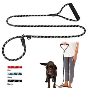 Police Style Reflective Climbing Rope Dog Slip Lead & Foam Handle Braided Leash