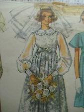 Vintage Simplicity 8144 PETER PAN COLLAR WEDDING DRESS Sewing Pattern Women Sz12