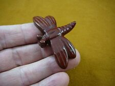 (Y-Drag-709) little Red Dragonfly fly carving Figurine gemstone love dragonflies