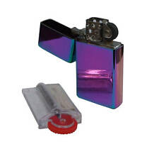 More details for personalised slim rainbow petrol lighter with spare free flints & wick dispenser