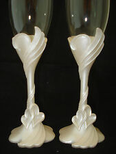 Linked Hearts Theme Wedding Toasting Glasses Flutes